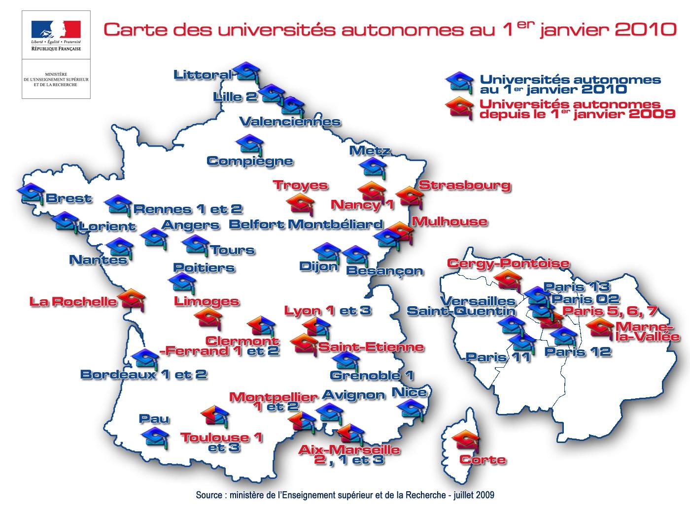51 universités autonomes au 1er janvier 2010   ESR