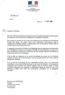 Courrier Valérie Pécresse à Jean Salençon