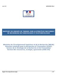 Rapport stratégie de recherche en toxicologie et ecotoxicolo
