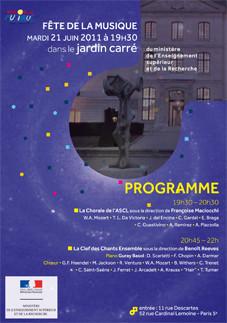 Couverture du programme de la fête de la musique 2011