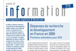 Dépenses de recherche et développement en France en 2009 : premières estimations pour 2010
