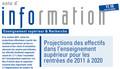 Projections des effectifs dans l'enseignement supérieur pour les entrées de 2011 à 2020