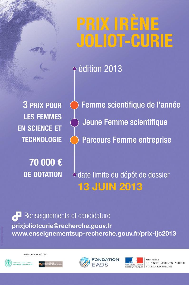 Affiche du Prix Irène Joliot-Curie 2013