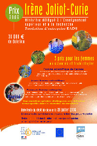 Grande affiche 2006 Prix Irène Joliot-Curie
