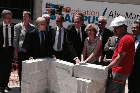 Pose de la première pierre de l'Opération Campus Aix Quartier des Facultés