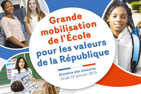 Grande mobilisation de l'Ecole pour les valeurs de la République : annonce des mesures