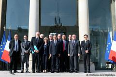 Réunion des représentants d'Airbus et de Safran à l'Elysée