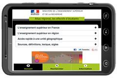 Atlas régional :effectifs d'étudiants 2010-2011, sur smartphone