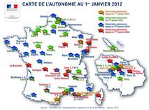 Carte universités autonomes au 1er janvier 2012