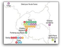 Carte Equipex Ile dde France