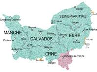Carte physique de la Normandie