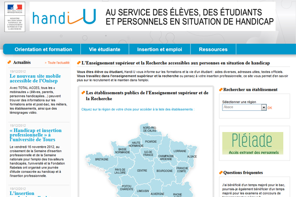photo de la page d'accueil du site handi U
