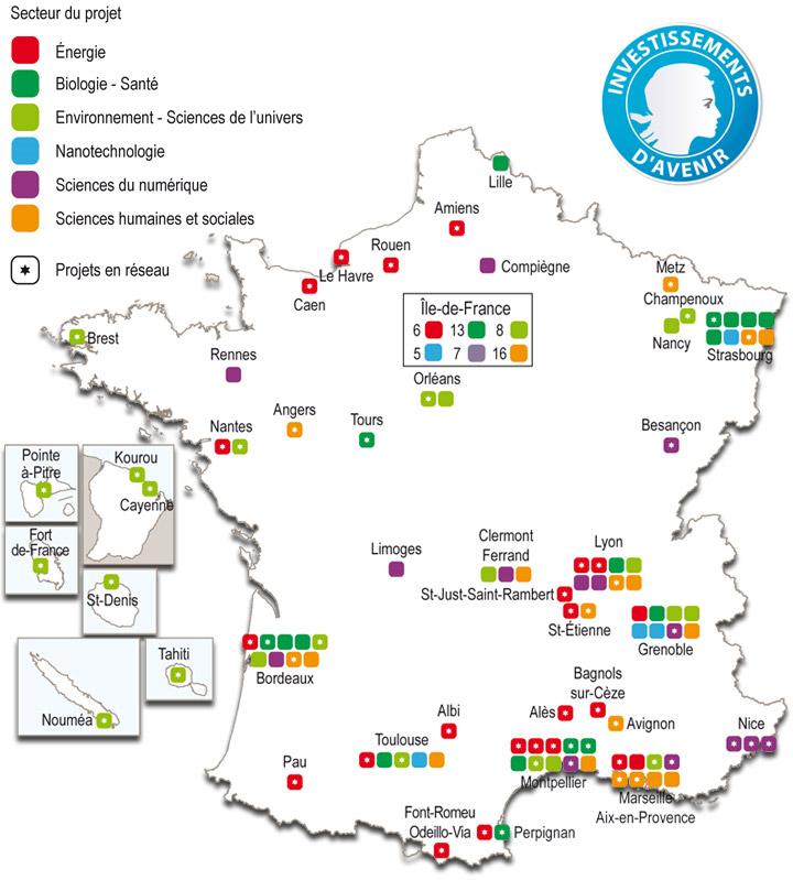 Carte labex des projets par région et domaine