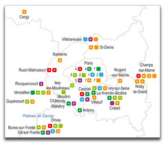 Carte labex des projets Ile de France par domaine
