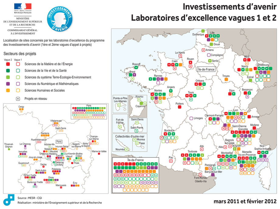 Carte projets Laboratoires d'excellences vagues 1 et 2