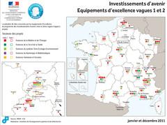 Investissements d'Avenir carte projets Equipements d'excellence vagues 1 et 2