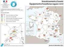 Localisation et description des projets Investissements d'Avenir Equipex vague 2