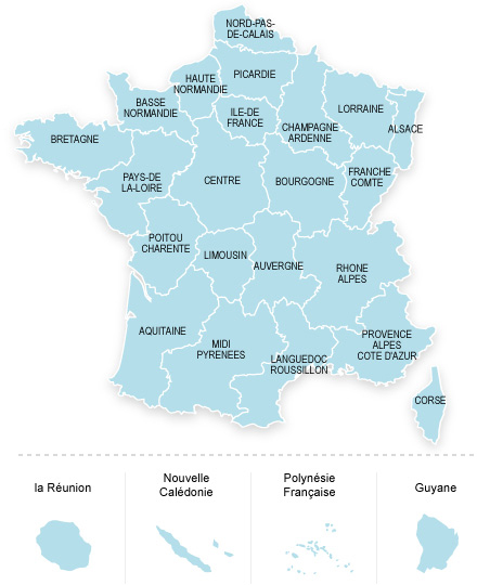 Carte des établissements de France