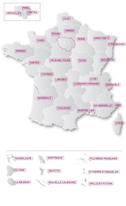 Carte des correspondants de l'IGAENR