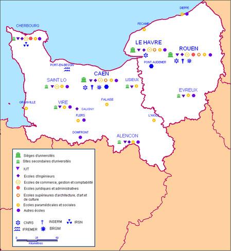 Carte des implantations des principaux établissements d'ESR en Normandie (source Starter 2014)
