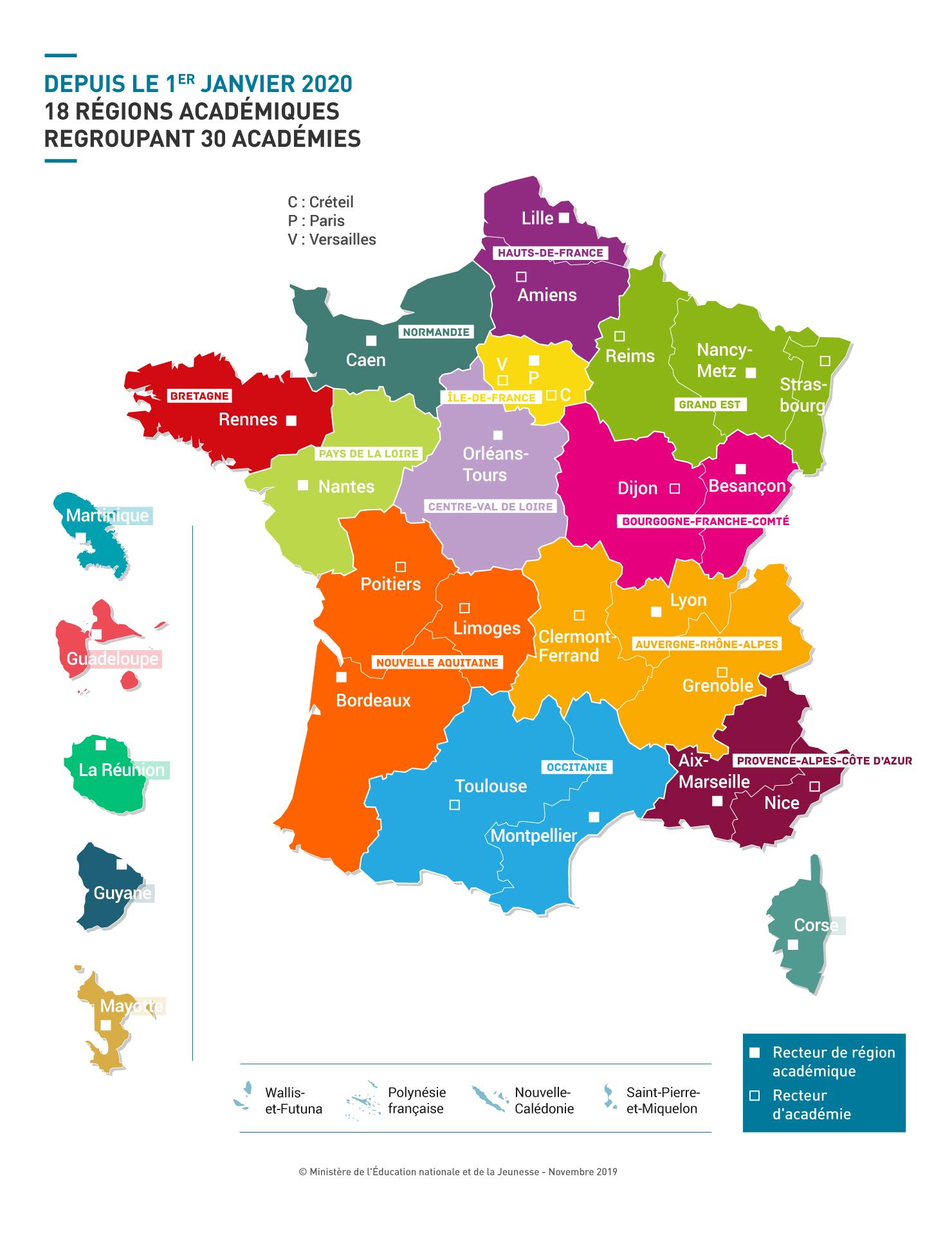 carte des académies 2020 Création d'un emploi de recteur délégué à l'ESRI dans sept régions