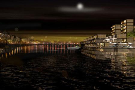 Lyon, projet de logement étudiant sur le Rhône / de nuit