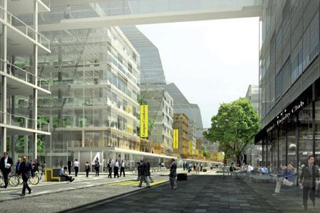 Campus Condorcet, projet : vue de la rue universitaire