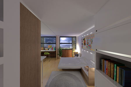 Lyon : vue d'un logement étudiant, espace modulable