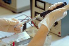 Chargement d'un gel d'agarose permettant l'examen de fragmen