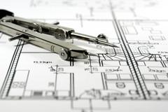 Compas sur maquette architecture