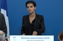 Voir la vidéo : Rentrée universitaire 2015 : intervention de Najat Vallaud-Belkacem
